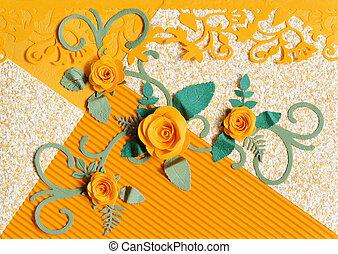 decorativo, rosa, hojas, naranja, papel, tarjetas