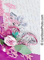 decorativo, rosa, hojas, papel, tarjetas