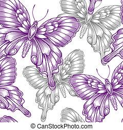 decorativo, roxo, borboletas, seamless, padrão