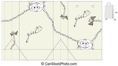 decorativo, saco, menina, ilustração, feliz