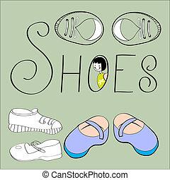 decorativo, sapatos, fundo