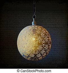 decorativo, scuro, lampada, metallo, stanza