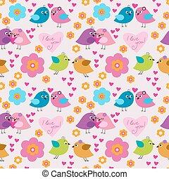 decorativo, seamless, patrón, con, aves, enamorado