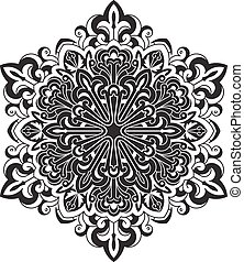 decorativo, ser, tensão, usado, renda, abstratos, -, mandala, vetorial, anti, lata, étnico, desenho, therapy., redondo, element., pretas