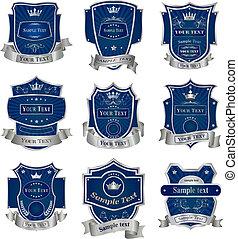decorativo, set, collezione, vettore, etichette