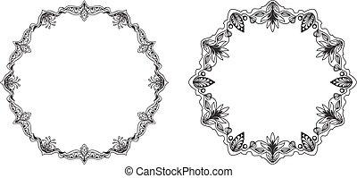 decorativo, set, cornice, mano, branch., drawn., rotondo