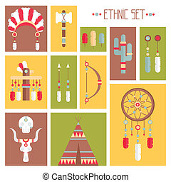 decorativo, set, indiano, elements., ricevitore, penne, tribale, frecce, capo, vettore, americano, symbols., sogno, etnico, colorito, style., acconciatura, nativo