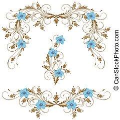 decorativo, set, ornamento