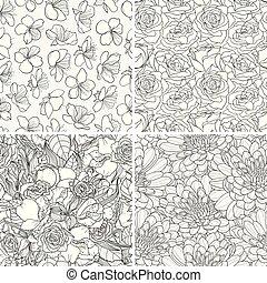 decorativo, set, seamless, flowers., vettore, fondo, floreale, hand-drawn