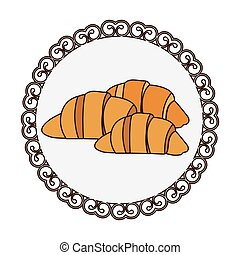 decorativo, set, silhouette, colorito, croissant, cornice, bread, icona