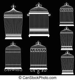 decorativo, set, silhouette, uccello, gabbie