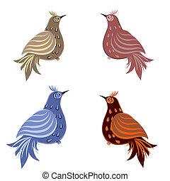 decorativo, set, uccello
