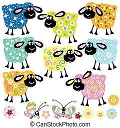 decorativo, sheep, jogo
