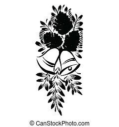 decorativo, silhouette, cono, pino