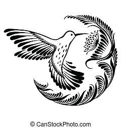 decorativo, silueta, colibrí, en vuelo