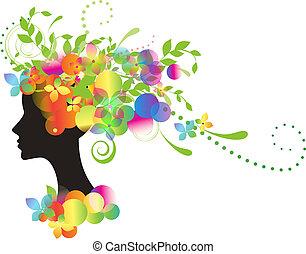 decorativo, silueta, de, mulher, com, flores