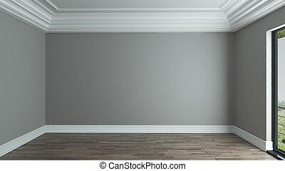decorativo, soffitto, stanza, fondo, interno, vuoto