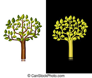 decorativo, stagioni, set, albero