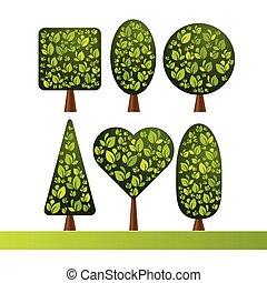 decorativo, stile, set, heart., shapes., albero, vario, sfera, cono, painting., cubo, ovale