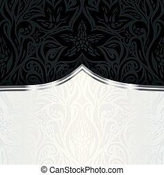 decorativo, stile, vendemmia, carta da parati, nero, lusso, fondo, disegno floreale, argento