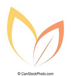 decorativo, stilizzato, medico, silhouette, natura, eco, albero, isolato, vettore, elemento, autunno, fondo., ecologico, brands., segno, label., foglia, bianco