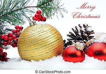 decorativo, strobile, árbol, arriba, snow., cierre, pelotas,...