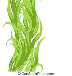 decorativo, swirly, ornamento, astratto, pattern., seamless, verde, onde, erba