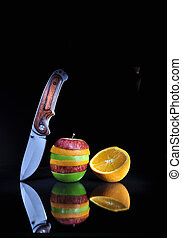 decorativo, tabla, vidrio, cortar, negro, manzana, fruta, ...
