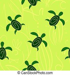 decorativo, tartaruga, pattern., seamless, mano, vettore, disegnato