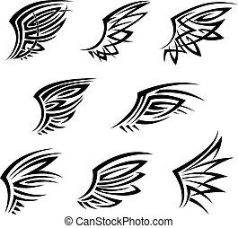 decorativo, tatuagem, tribal, penas, pretas, asas