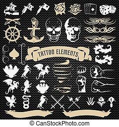 decorativo, tatuaggio, elementi, set, icone
