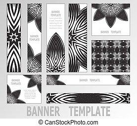 decorativo, tela, conjunto, elements., black-white, banners., 9