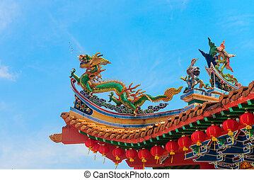 decorativo, templo, chenese, torre, colorfull