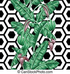 decorativo, tessile, ritaglio, fatto, fondo, fondale, modello, immagine, involucro, uso, seamless, tropicale, mask., carta, facile, fogliame, senza, fruits., fiori, banana, leaves.