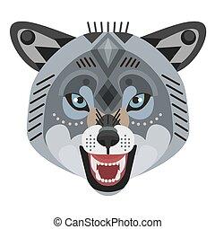 decorativo, testa, arrabbiato, emblem., vettore, lupo, logo.