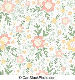decorativo, teste padrão pastel, seamless, floral, ...