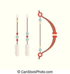 decorativo, tiro com arco, tribal, setas, bow., étnico, set.