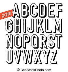 decorativo, type., cartas, sin, alfabeto, hechaa mano, fondo., serif, vector, negro, retro, font., blanco