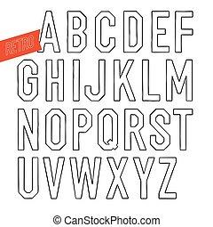 decorativo, type., letras, esboço, alfabeto, feito à mão, experiência., serif, vetorial, pretas, retro, font., branca, sans