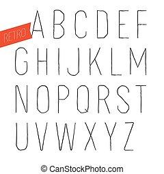 decorativo, type., letras, esboço, alfabeto, feito à mão, experiência., serif, vetorial, retro, font., inline, branca, sans