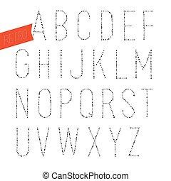 decorativo, type., letras, sans, alfabeto, feito à mão, blak, experiência., serif, vetorial, retro, font., branca
