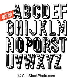decorativo, type., letras, sans, alfabeto, feito à mão, experiência., serif, vetorial, pretas, retro, font., branca