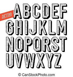 decorativo, type., letras, sans, alfabeto, feito à mão, experiência., serif, vetorial, pretas, retro, font., branca, dot&shadow