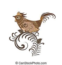 decorativo, uccello, ramo