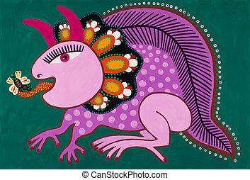 decorativo, ucraino, tradizionale, fantasia, animal., multa,...