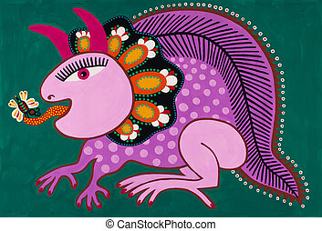 decorativo, ucranio, tradicional, fantasía, animal., multa, origi, art.