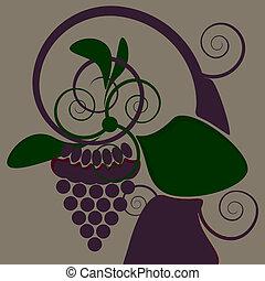 decorativo, uva