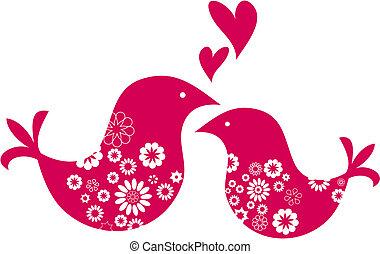 decorativo, valentines, saludo, día, dos pájaros, tarjeta