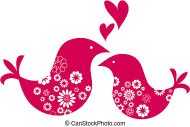 decorativo, valentines, saudação, dia, dois pássaros, cartão