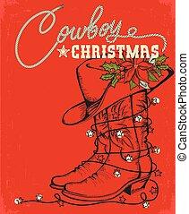 decorativo, vaquero, texto, bota, occidental, tarjeta de navidad, rojo